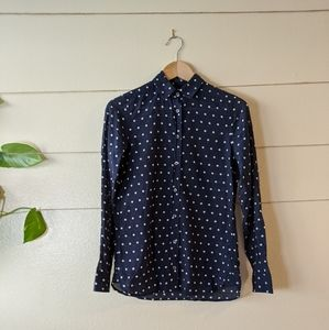 J. Crew Polka Dot Navy Blue